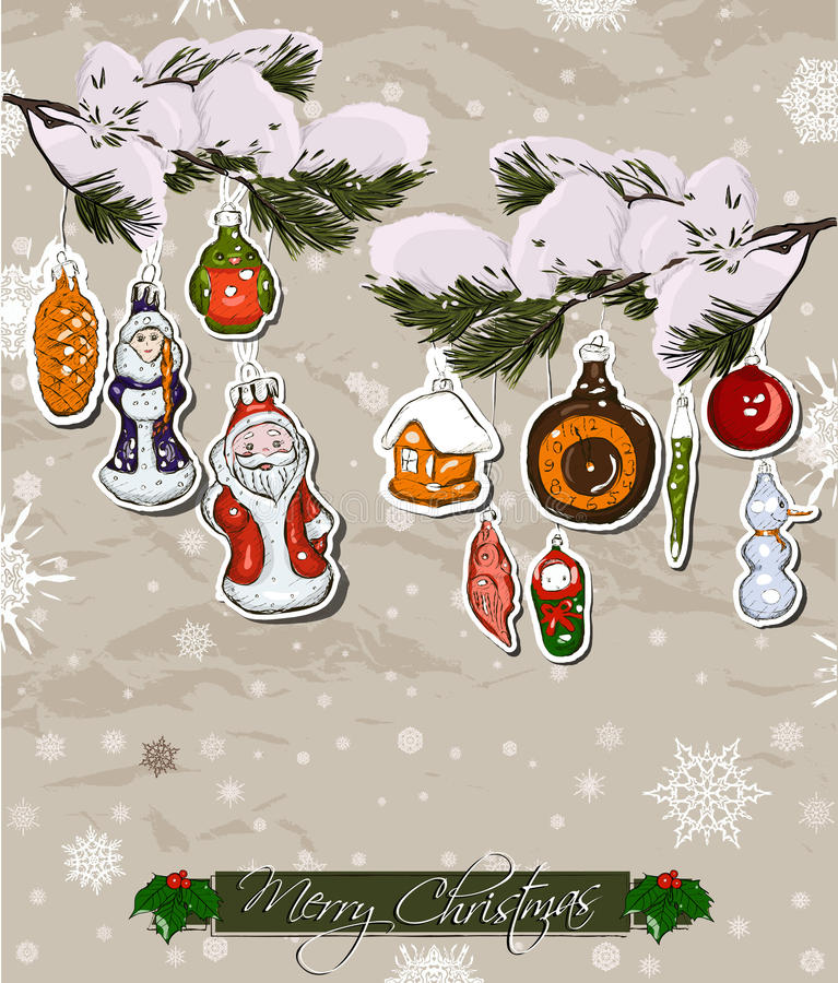 Poster with vintage Christmas decorations. stock illustration
