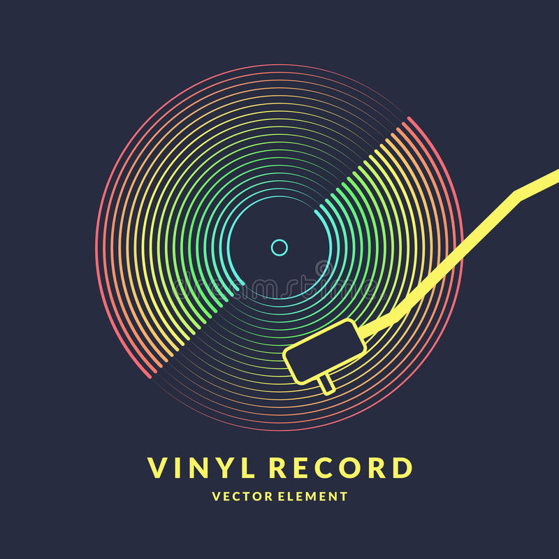 Poster of the Vinyl record. Vector illustration on dark background. Poster of the Vinyl record. Vector illustration music on dark background vector illustration