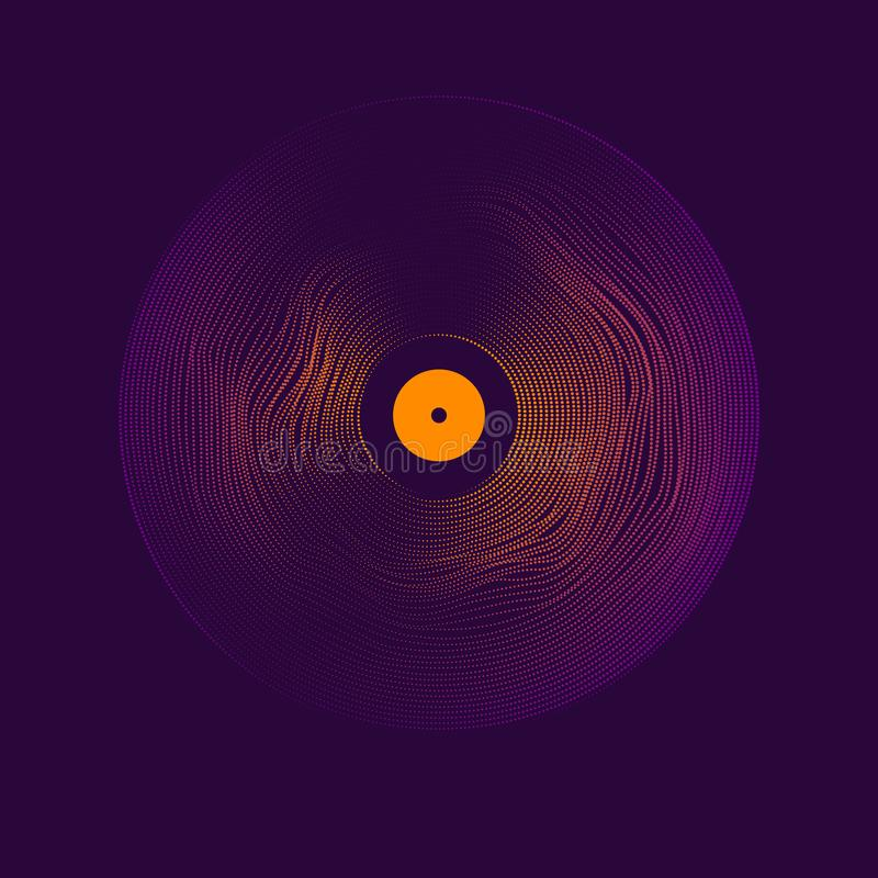 Poster of the Vinyl record. Vector illustration on dark background. Poster of the Vinyl record. Vector illustration music on dark background stock illustration