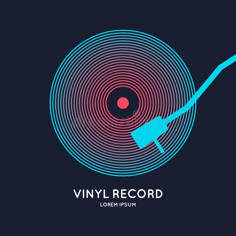 Poster of the Vinyl record. Illustration music on dark background. vector illustration