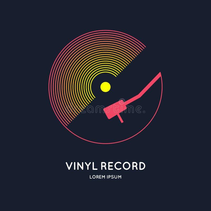 Poster of the Vinyl record. Illustration music on dark background. stock illustration