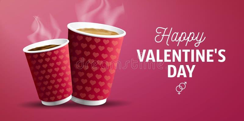 Poster voor cofe met Coffee to Go americano en cappuccino voor Valentiine's Day Banner Concept stock illustratie
