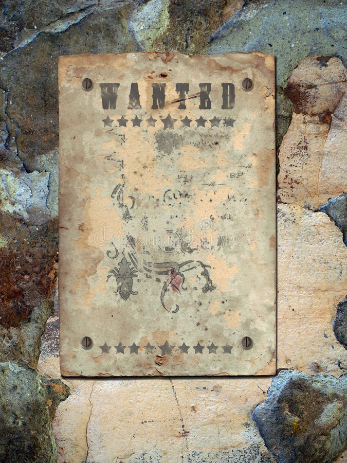 Poster Wanted. Wild West styled poster. Place for announcements royalty free stock photography