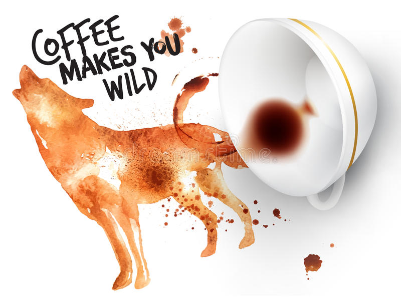 Poster wild coffee wolf vector illustration