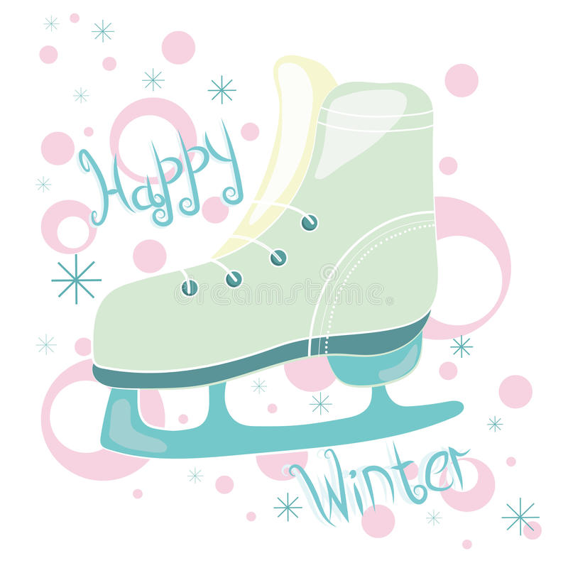 Poster. Winter picture poster with skates and snowflakes royalty free illustration