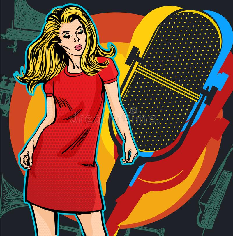Poster with woman singer. Red dress on woman. Retro microphone. Jazz, soul and blues live music party poster. Poster with woman singer. Red dress on woman royalty free illustration