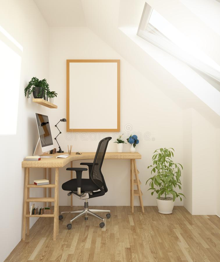 poster on minimal workplace mockup stock image