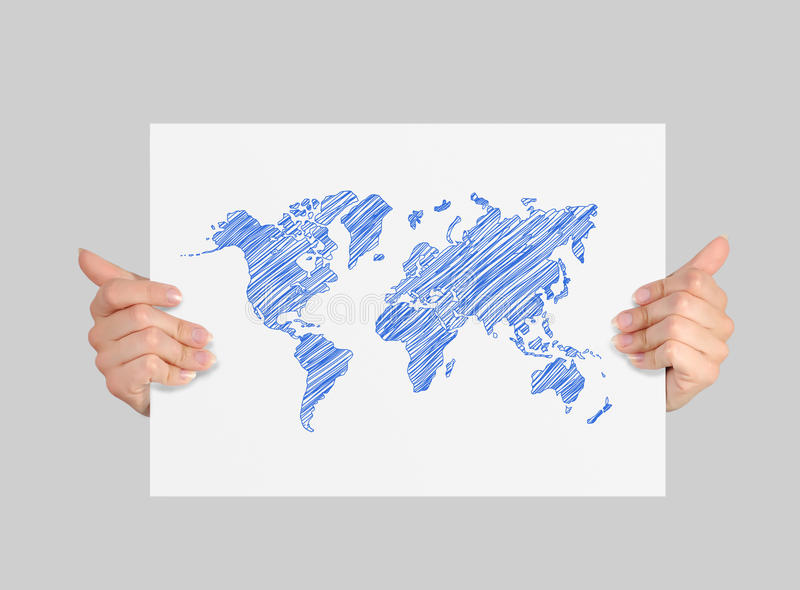 Poster with world map stock photos