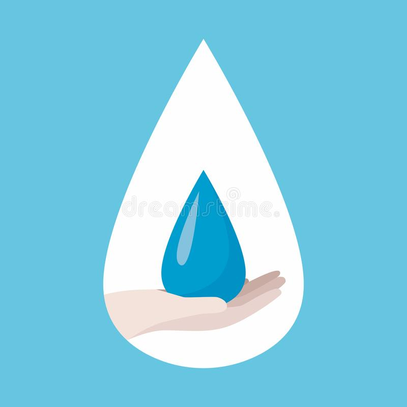 Poster world water day, save Earth. Ecology concept, Hand hold blue drop icon royalty free illustration
