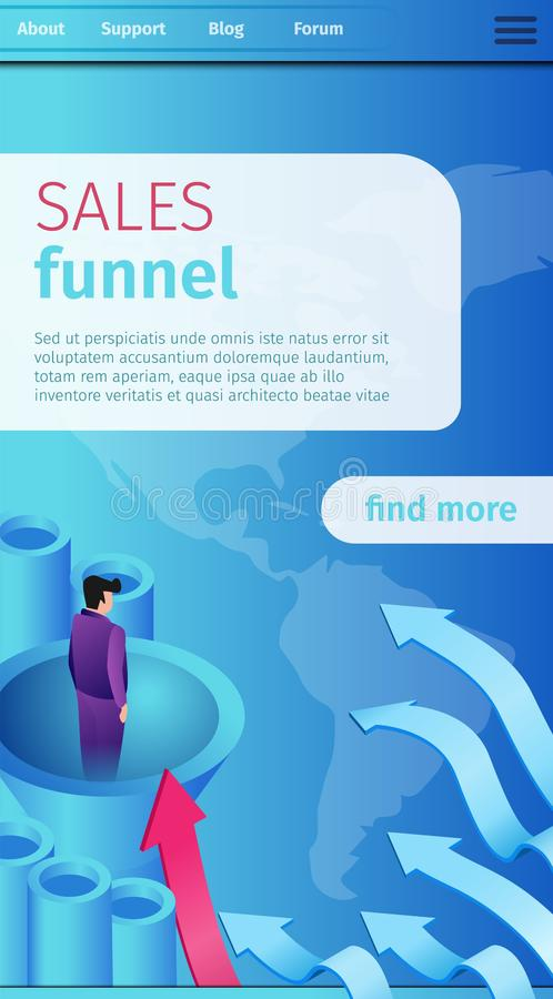 Poster is Written Sales Funnel Cartoon Banner. Vector Illustration Landing Page. Man in Suit into Tube Through Wide Funnel. Attracting Target Audience in stock illustration