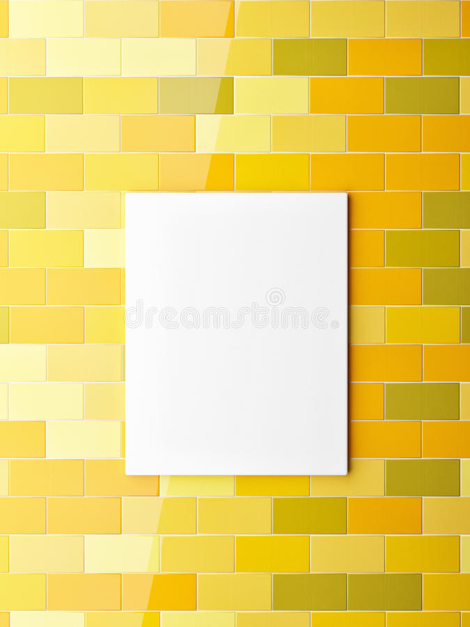 Poster on yellow colors ceramic tiles wall royalty free illustration