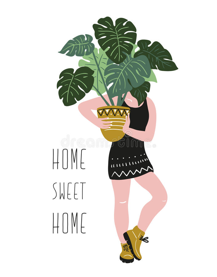 Poster with young woman cultivating home tropical plants and text - `Home sweet home`. Hand drawn vector illustration. Poster with young woman cultivating home vector illustration