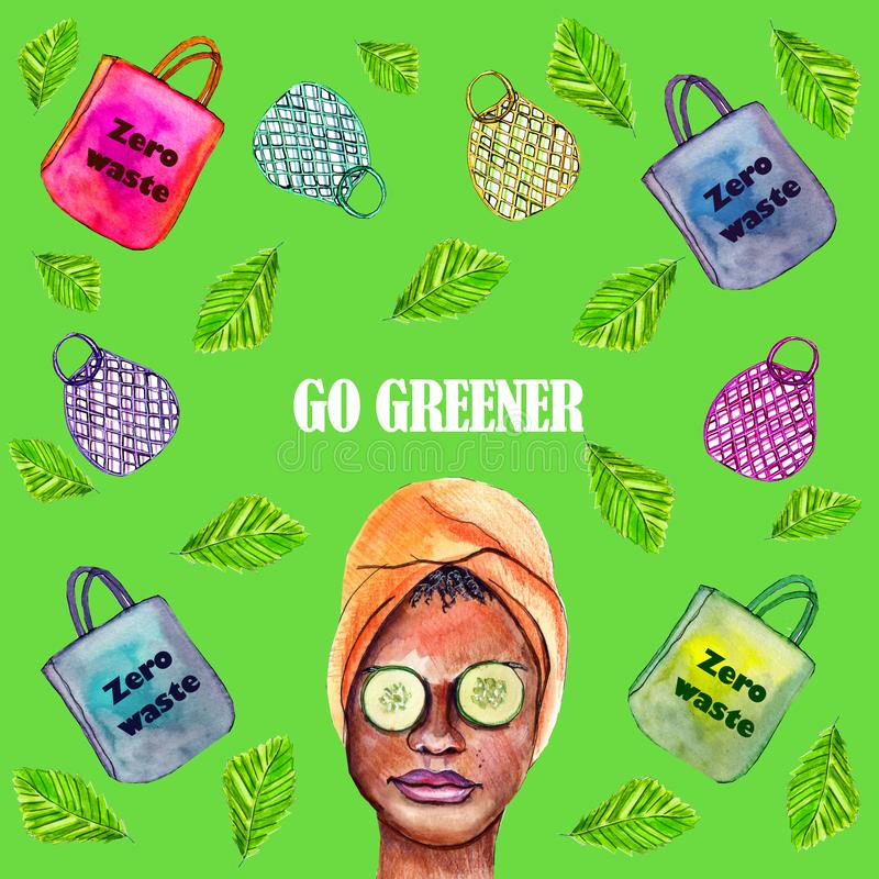 Poster with zero waste concept of using eco shopping bags royalty free stock images