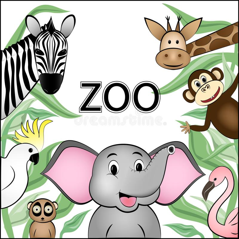 Poster for zoo, different cartoon wild happy animals are located around the space for text, isolated on white background square vector illustration