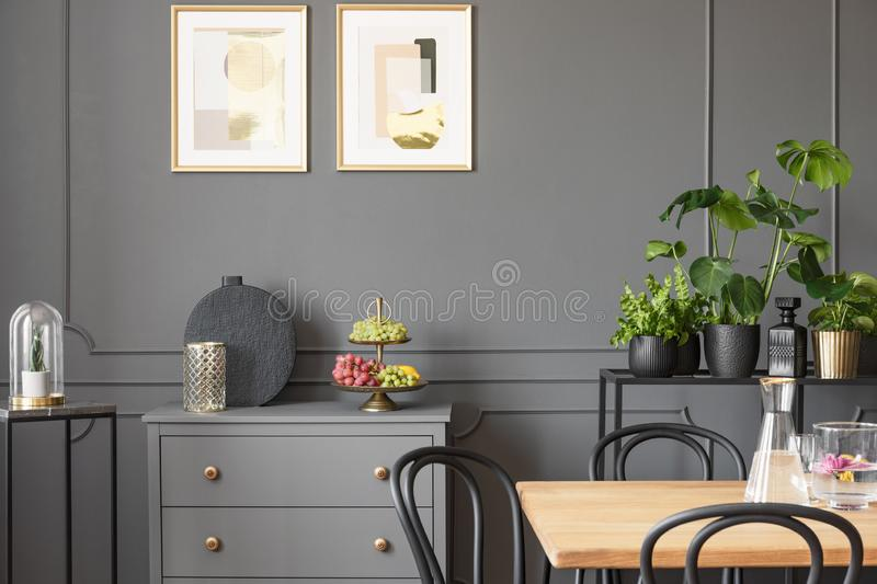 Posters above grey cabinet in dark dining room interior with plants and wooden table. Real photo stock images