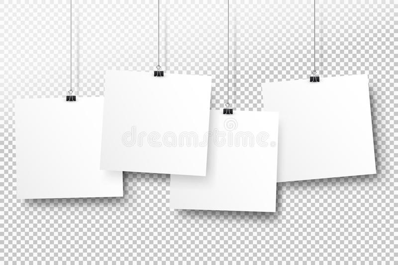 Posters on binder clips. White notepad paper templates. Realistic illustration. Empty mockup frames for your drawings stock illustration
