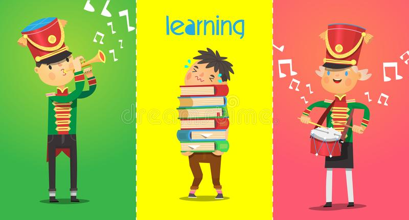 Posters with children characters of school age. Musicians are playing music instruments. stock illustration
