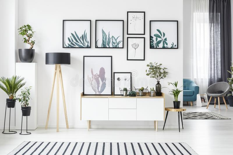 Posters in living room vector illustration