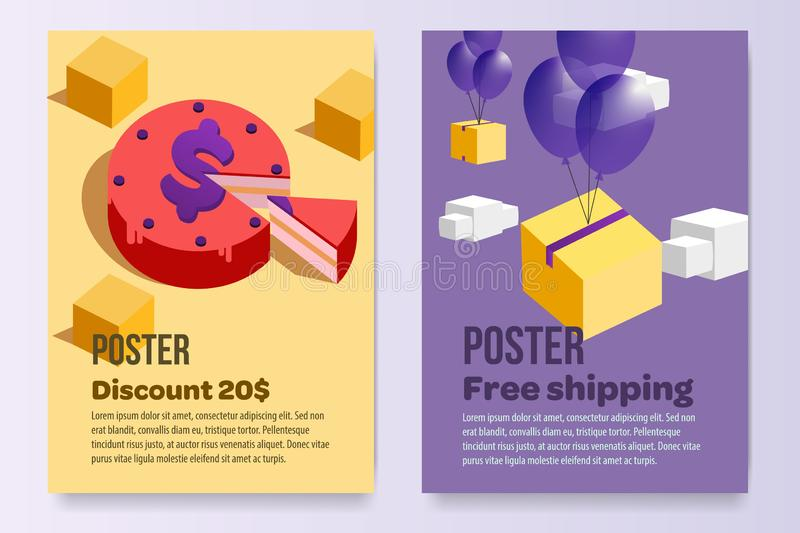 Posters set promotion A4 paper afisha sell stock vector illustration