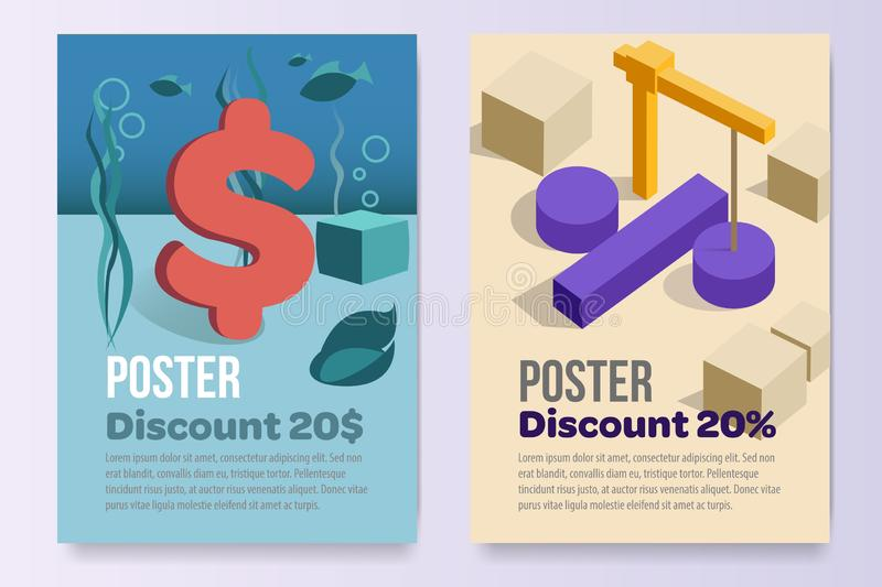 Posters set promotion A4 paper afisha sell stock stock illustration