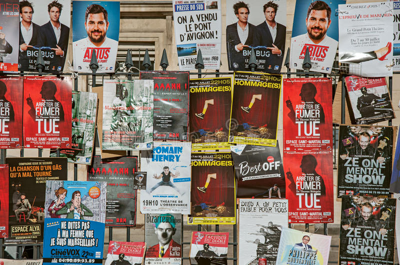 Posters of theatrical pieces in Avignon Festival. royalty free stock images