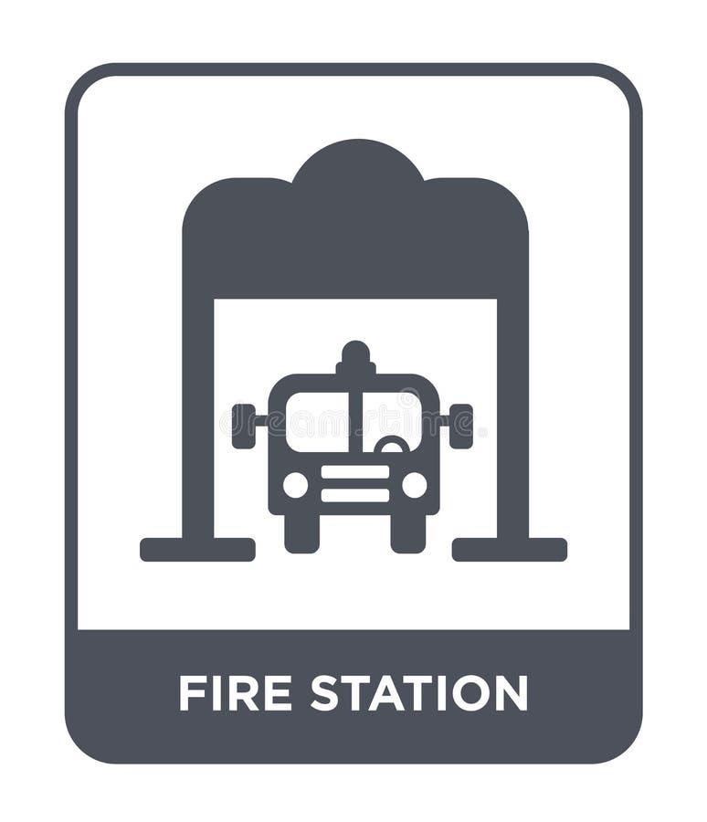 posterunek straży pożarnej ikona w modnym projekta stylu posterunek straży pożarnej ikona odizolowywająca na białym tle posterune ilustracji