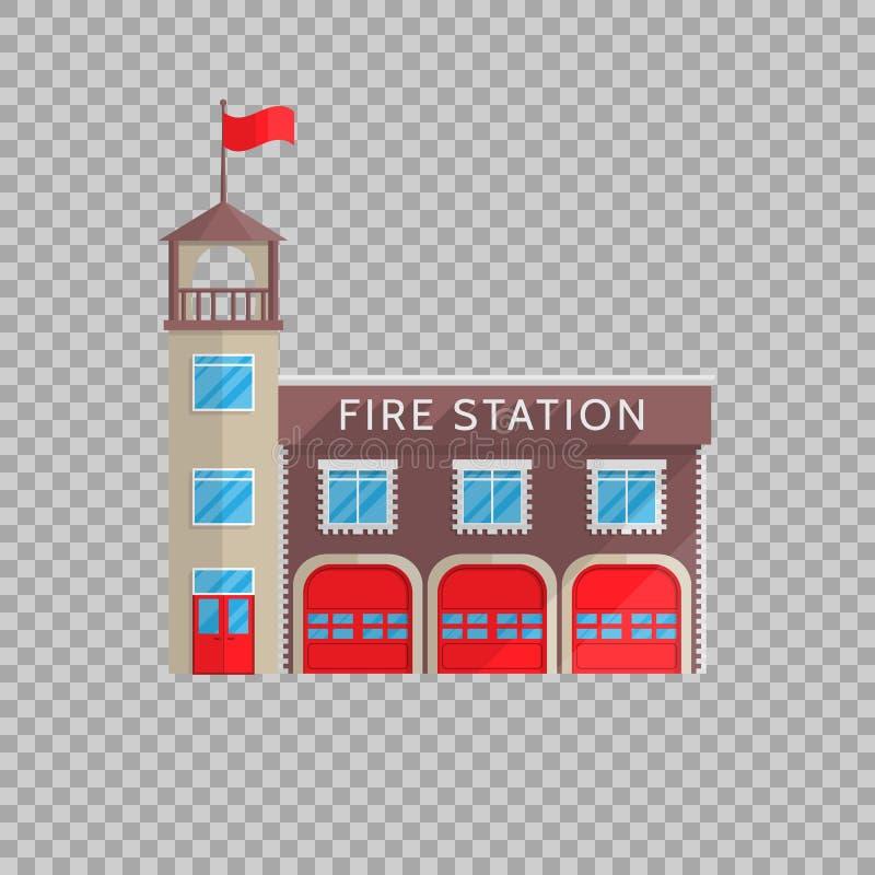 Posterunku straży pożarnej budynek w mieszkanie stylu na przejrzystej tło wektoru ilustraci Usługa zwalczać emergencies, ogień ilustracji