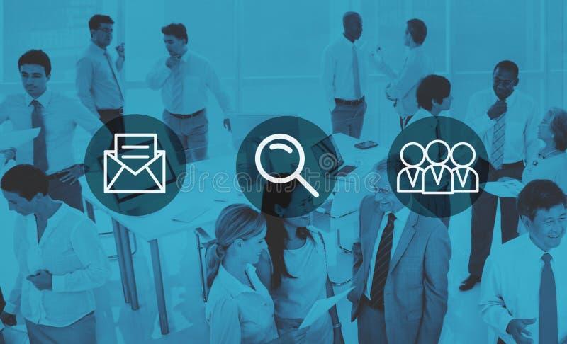 Postförstoringsglassökande Team Concept royaltyfri illustrationer