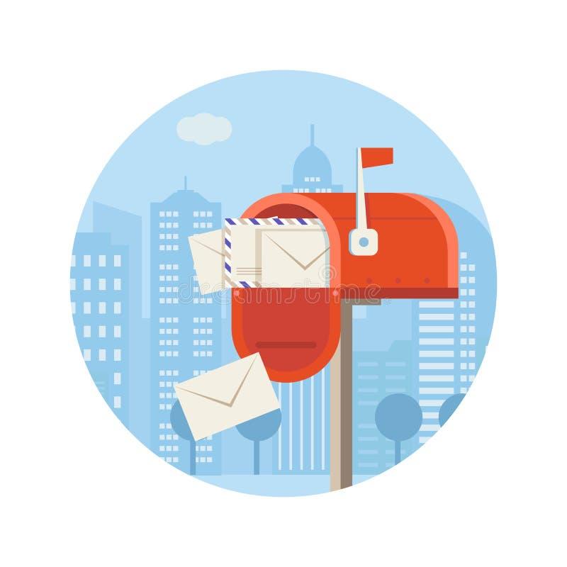 Postgångvektorsymbol med bokstavsasken royaltyfri illustrationer