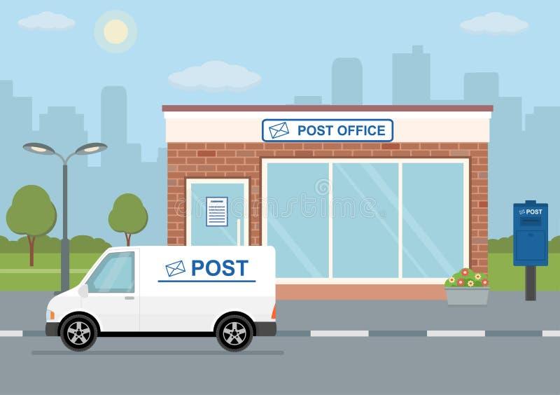 Postgebäude, -Lieferwagen und -briefkasten auf Stadthintergrund vektor abbildung