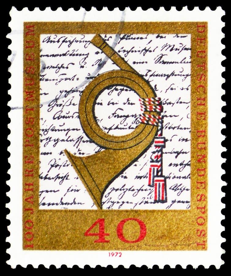 Posthorn anteckning för museet av Heinrich von Stephan, hundraårsdag av tysk post- museumserie, circa 1972 royaltyfri bild