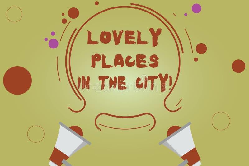 Posti adorabili del testo di scrittura di parola nella città Concetto di affari per le belle costruzioni due di architettura del  illustrazione vettoriale