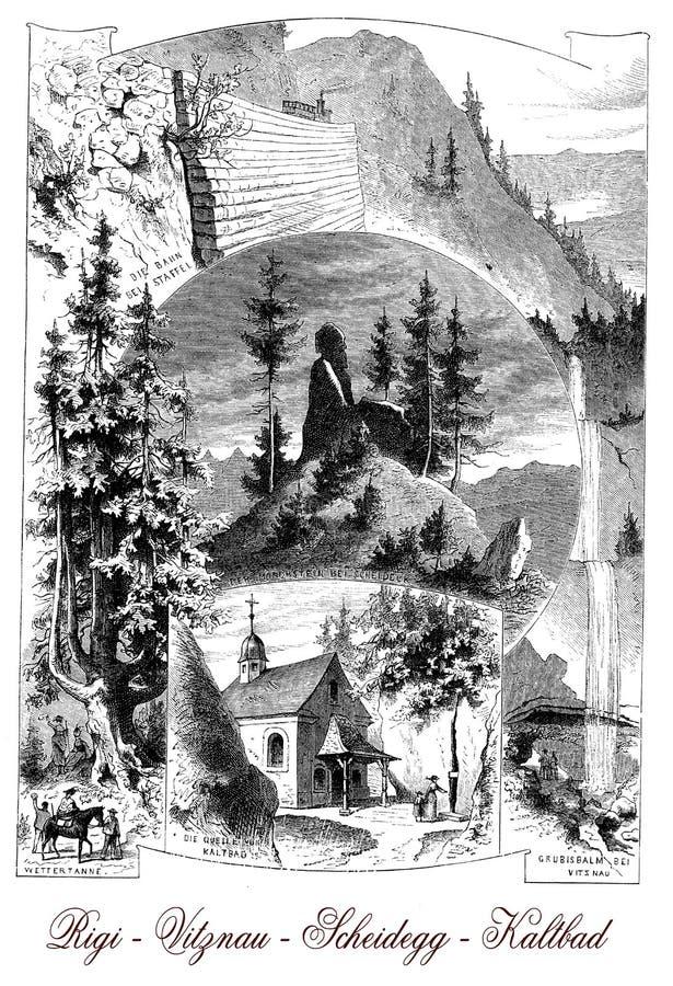 Posti turistici in Svizzera, manifesto d'annata illustrazione vettoriale