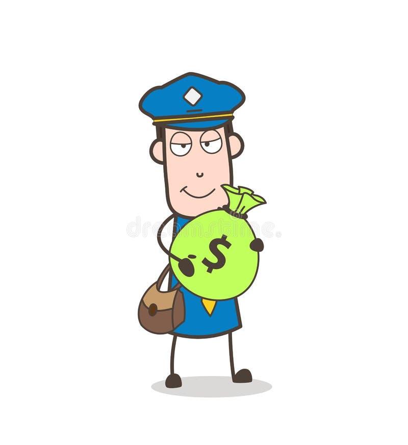 Postino del fumetto che tiene un'illustrazione di vettore della borsa dei contanti illustrazione vettoriale