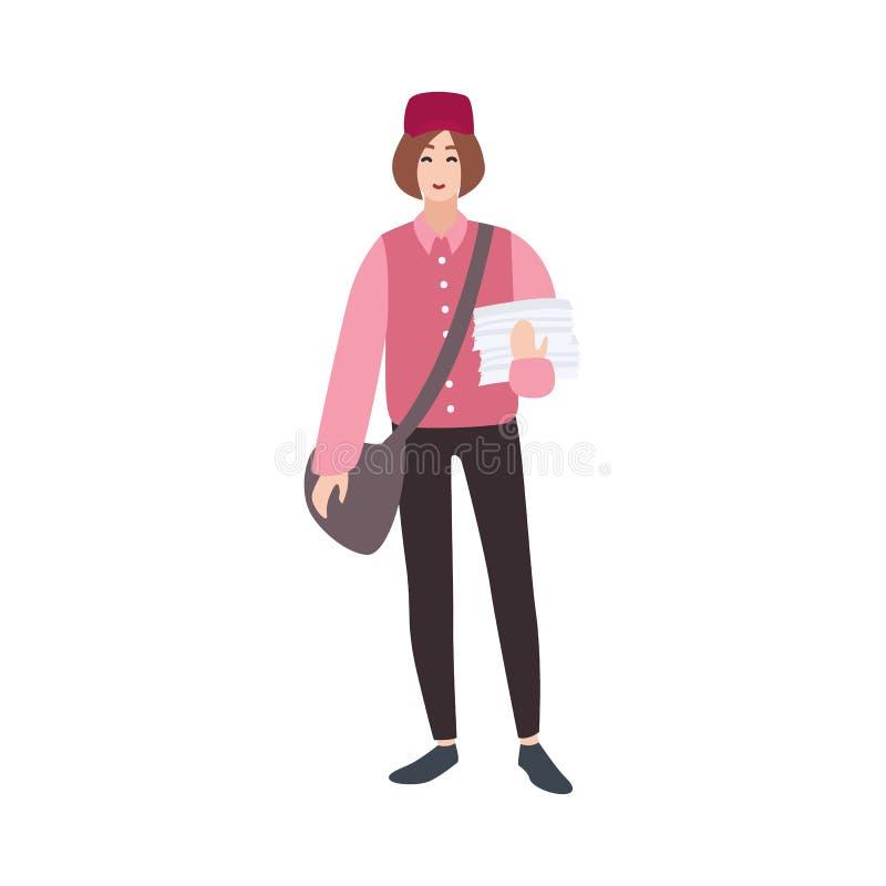 Postino, postino, posta o servizio postale, lavoratore postale, messaggero con la borsa e giornali Personaggio dei cartoni animat illustrazione vettoriale