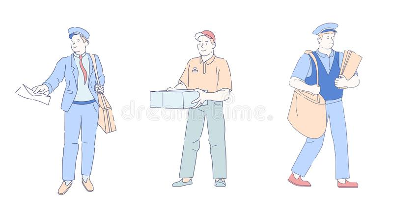 Postino veloce di servizio di consegna con il postino di vettore della busta della lettera e della borsa o l'ufficiale della post royalty illustrazione gratis