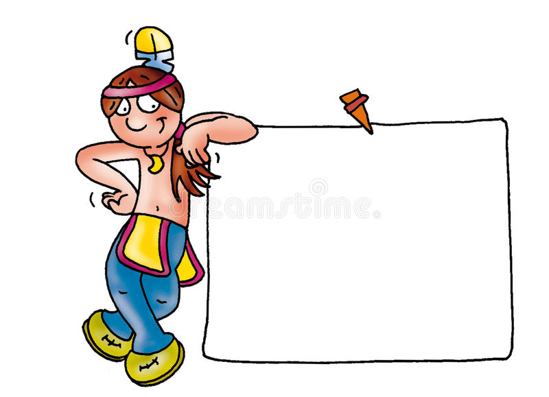 Postit with Indian holding a picture frame Color illustration for books and fables vector illustration