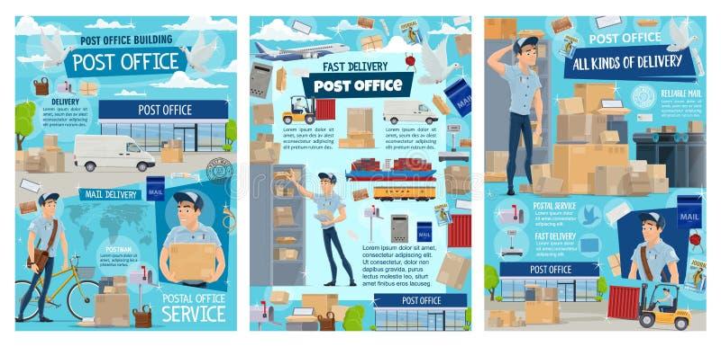 Postkantoor, brievenbesteller, post en pakketlevering royalty-vrije illustratie
