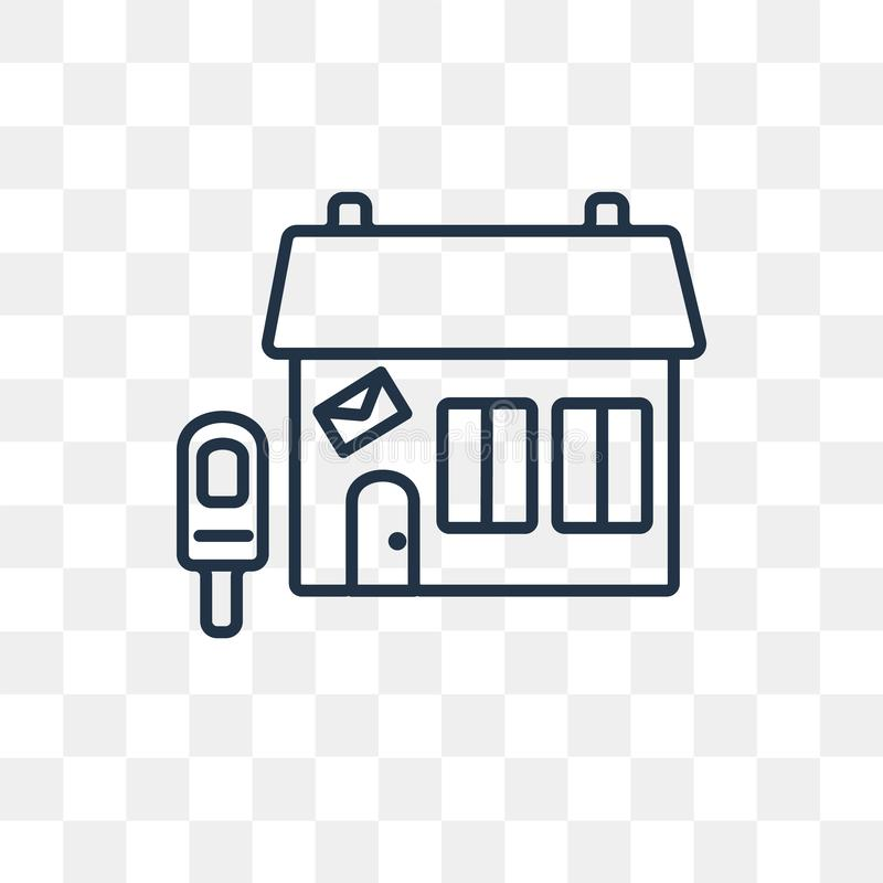Postkantoor vectordiepictogram op transparante achtergrond, lijn wordt geïsoleerd royalty-vrije illustratie