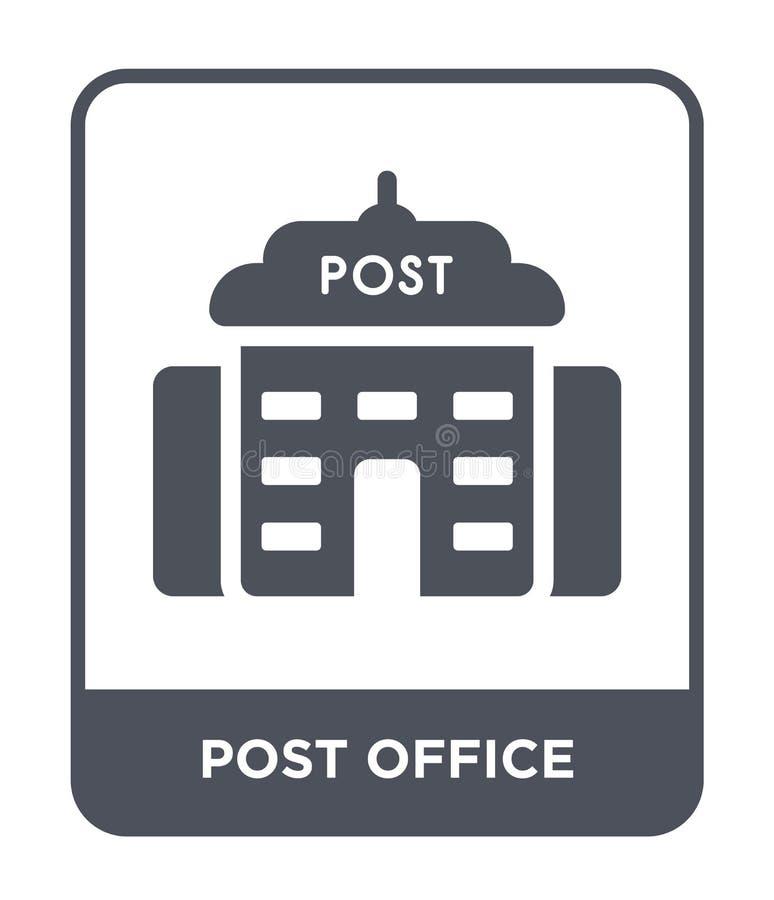 postkantoorpictogram in in ontwerpstijl postkantoorpictogram op witte achtergrond wordt geïsoleerd die eenvoudig en modern postka stock illustratie