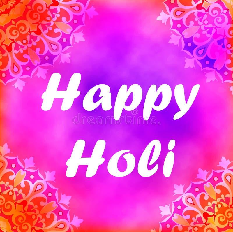 Postkarte auf dem Festival von Farben in Indien-holi vektor abbildung