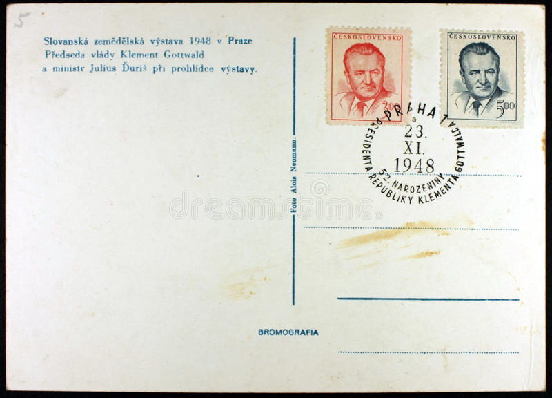 Postkarte, Ausstellung Prag, 1948 stockbild