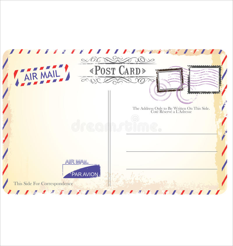 Postkarte in der Luftpostart vektor abbildung