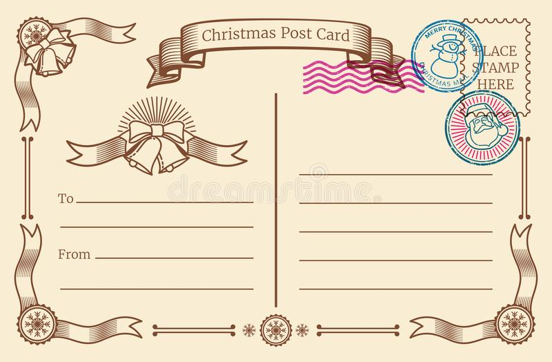 Postkarte des Weinleseweihnachtsfreien raumes mit Textraum und Weihnachtspoststempeln Rand der Farbband-, Lorbeer- und Eichenblät lizenzfreie abbildung