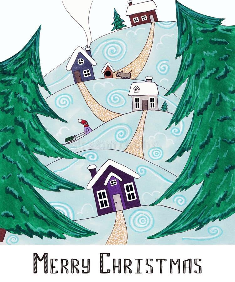 Postkarte-frohe Weihnachten Das Dorf in den Bergen stockfotografie