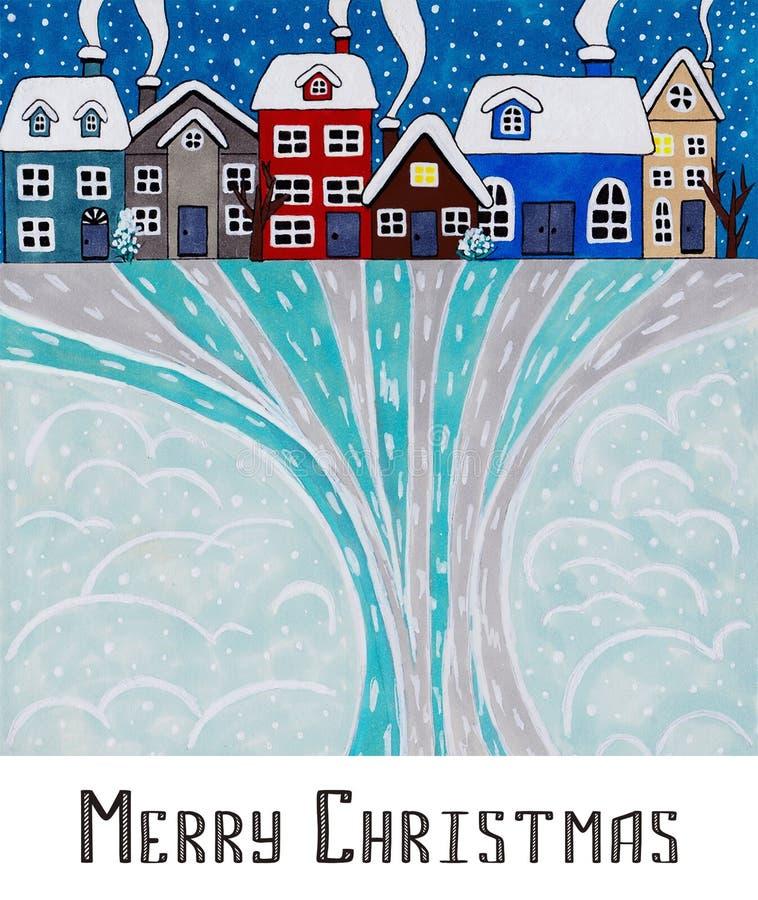 Postkarte-frohe Weihnachten Nachtwinterstadt lizenzfreie stockfotos