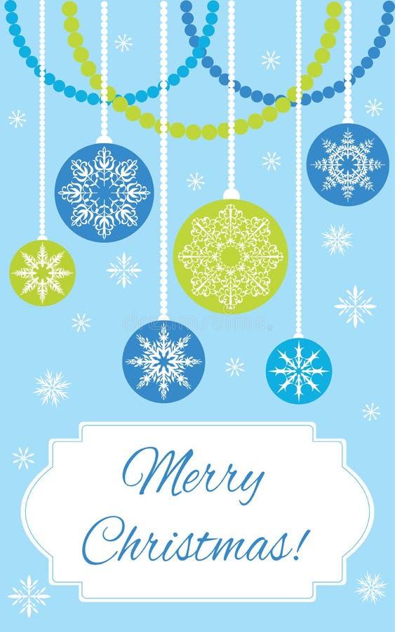Postkarte: Frohe Weihnachten! Weihnachtsbälle auf dem blauen Hintergrund lizenzfreie abbildung