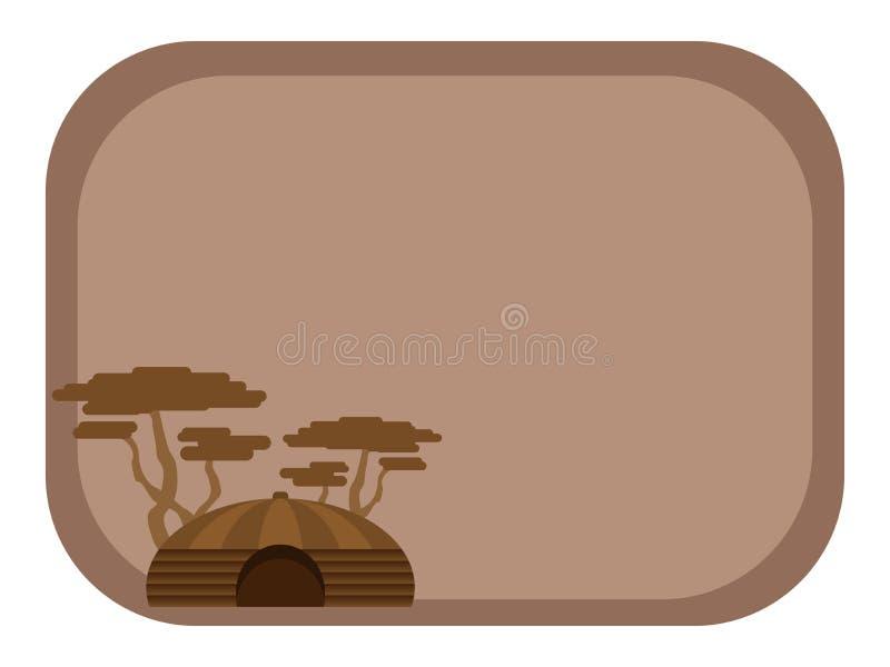 Postkarte, Hintergrund mit einem afrikanischen Haus stock abbildung