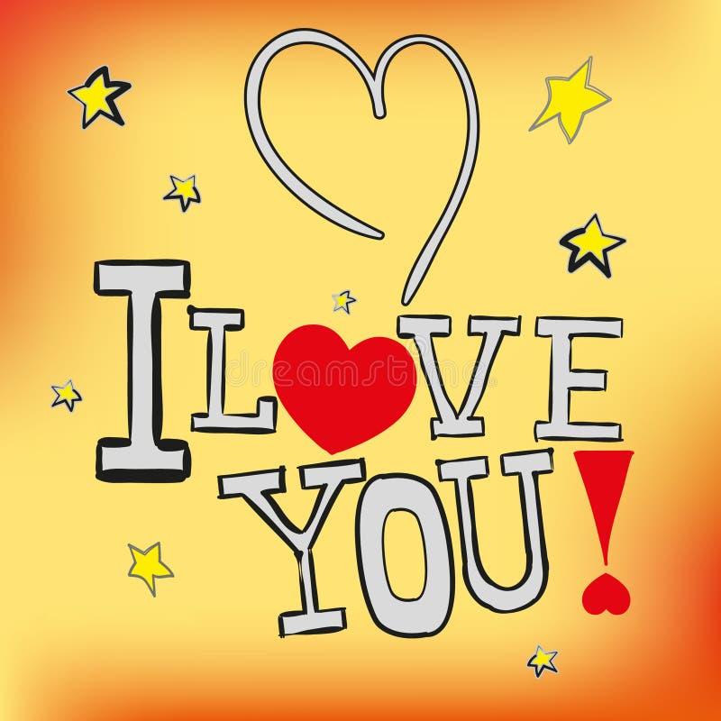 Postkarte ich liebe dich! im Vektor ENV 10 lizenzfreie stockfotografie