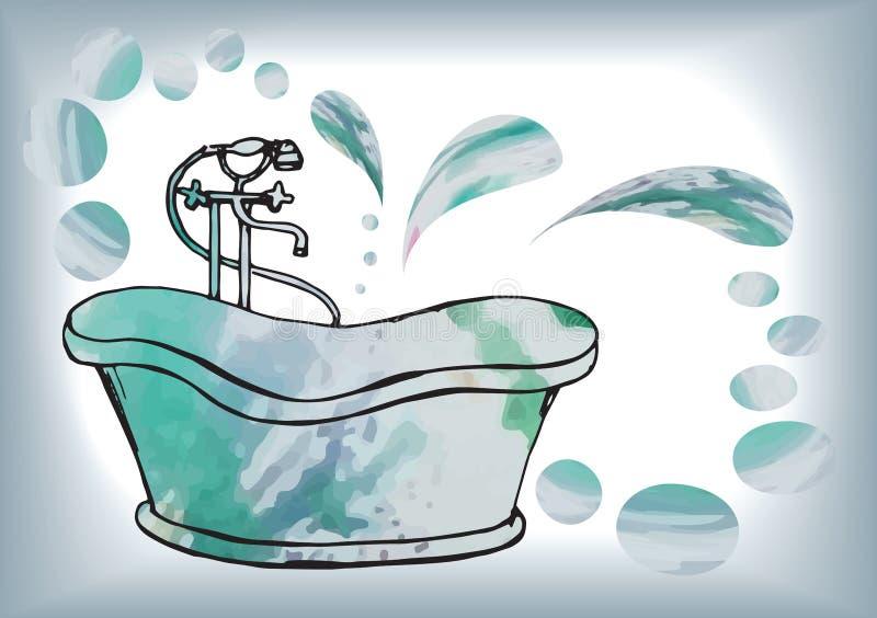 Postkarte malte antikes Bad mit Bodenmischer, im Vektor mit w lizenzfreie abbildung